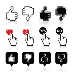 Cursor hand - like unlike love vote yes no icon vector image