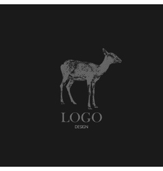 With engraving antelope or goat logo design vector