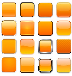 Square orange app icons vector