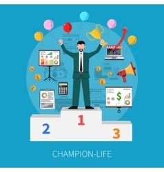 Champion life concept vector