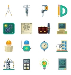 Engineer flat icons set vector