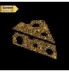 Gold glitter icon of cheese isolated on vector
