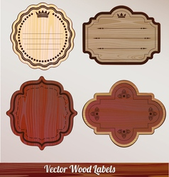 Set Wooden labels classic vintage retro vector image