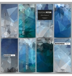 Set of flyers abstract blue polygonal background vector