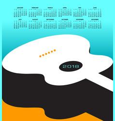 a 2018 calendar with a guitar theme vector image