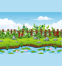 a summer landscape with flowers and stones vector image