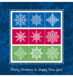 christmas background with hand draw snowflakes vector image
