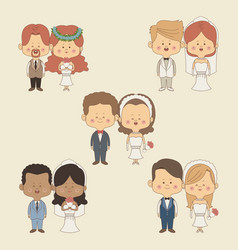 Color background of set full body couple bride and vector