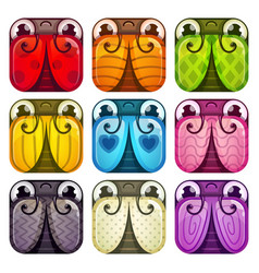 Cute colorful glossy square bugs set vector
