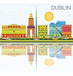 Dublin Skyline with Color Buildings vector image