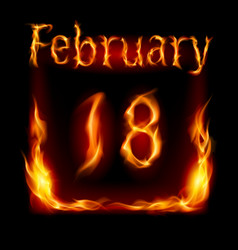 Eighteenth february in calendar of fire icon on vector