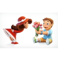Girl and boy with bouquet of flowers vector image vector image