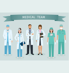 group of doctors and nurses standing together vector image