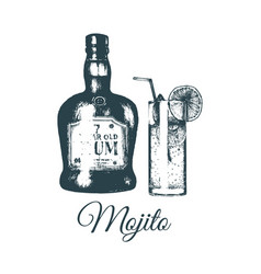 Hand sketched mojito glass and rum bottle isolated vector