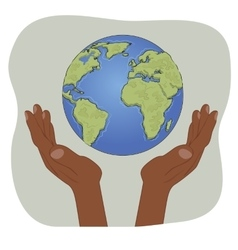 Hands of african american holding earth globe vector image