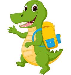 happy crocodile cartoon going to school vector image vector image