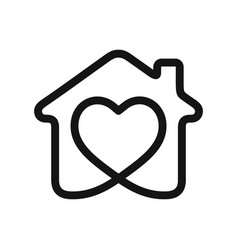 heart in house vector image vector image