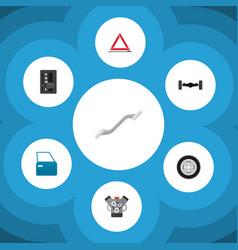 icon flat auto set of wheel emergency stop vector image