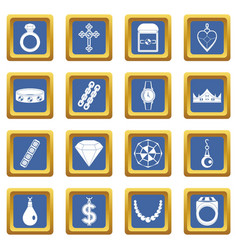 Jewelry items icons set blue vector