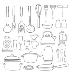 kitchenware collection black outline silhouettes vector image vector image