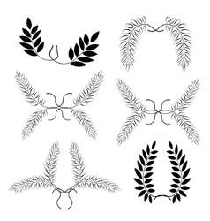 Laurel wreath tattoo set black ornaments nine vector