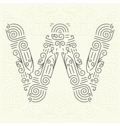 Letter W Golden Monogram Design element vector image vector image