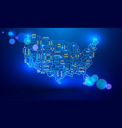 Map of the usa as a printed circuit board vector