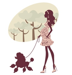Pregnant woman with poodle vector image vector image