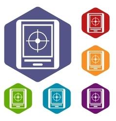 Radar icons set vector