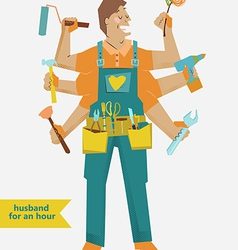 Retro cartoon handyman with different tools vector