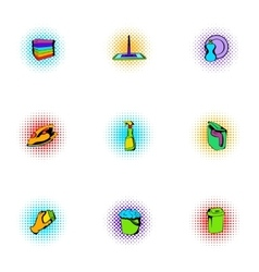 Sanitation icons set pop-art style vector