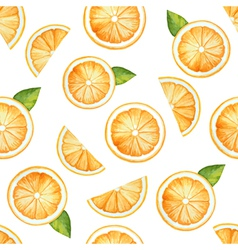 Seamless pattern watercolor fruit orange vector image