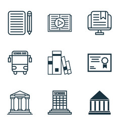 Set of 9 education icons includes college home vector