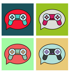 set of icon of social media e-mail game joystick vector image