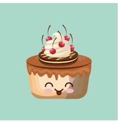 sweet cupcake icon design vector image