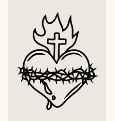 The sacred heart of the lord jesus vector