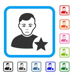 User rating star framed pitiful icon vector