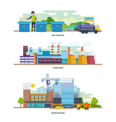 Waste recycling factory architectural building vector