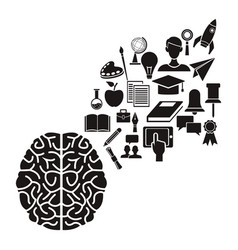 White background with black silhouette of brain vector