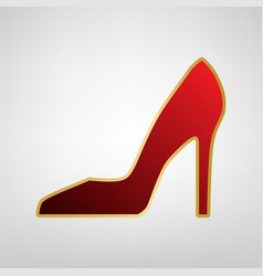 woman shoe sign red icon on gold sticker vector image