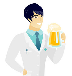 Young asian doctor drinking beer vector