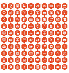 100 database icons hexagon orange vector