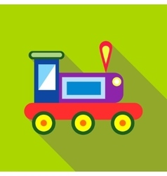 Children s toy train on a bright green background vector