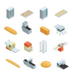 Bakery factory isometric icon set vector