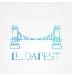 Chain bridge the symbol of budapest hungary vector