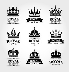 royal quality crowns logo templates set in vector image