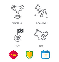 winner cup race timer and flag icons vector image