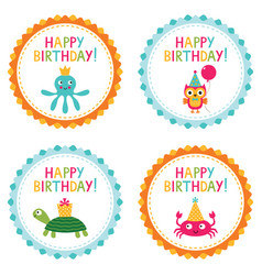 Kid party birthday badges vector