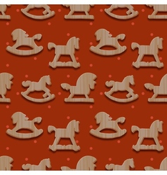 Christmas seamless pattern with rocking toys vector image