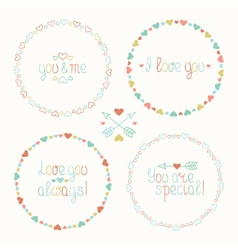 Hand drawn frame of romantic pattern with hearts vector image